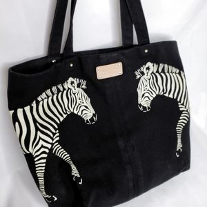 Kate Spade Zebra Black Canvas Tote Bag 14x12x5.5
